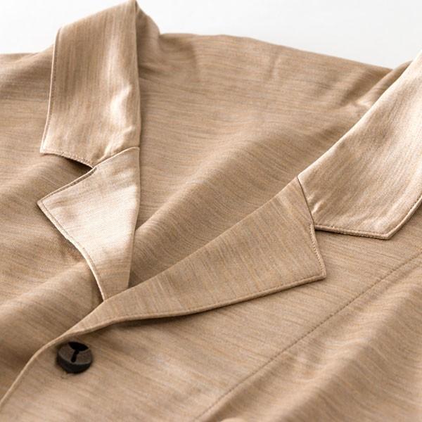 メンズ パジャマ 長袖 前開き テーラーカラー シルク100%薄地天竺ニット 0524|pajamakobo-lovely|10