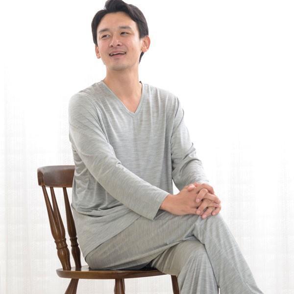 メンズ パジャマ 長袖 かぶり Vネック シルク100%薄地天竺ニット 0525|pajamakobo-lovely|11