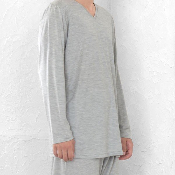 メンズ パジャマ 長袖 かぶり Vネック シルク100%薄地天竺ニット 0525|pajamakobo-lovely|12