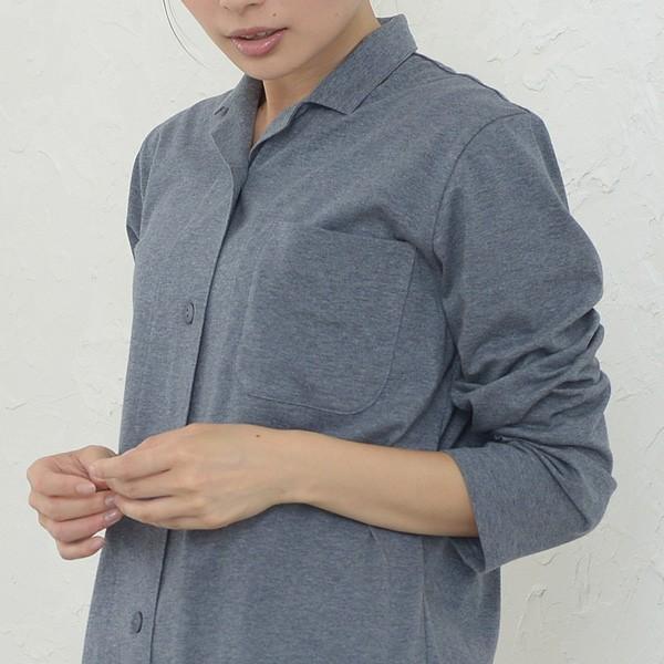 レディース パジャマ 長袖 前開き 衿付き オーガニックコットン100%薄地天竺ニット 0553|pajamakobo-lovely|11