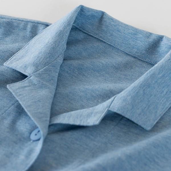 レディース パジャマ 長袖 前開き 衿付き オーガニックコットン100%薄地天竺ニット 0553|pajamakobo-lovely|07
