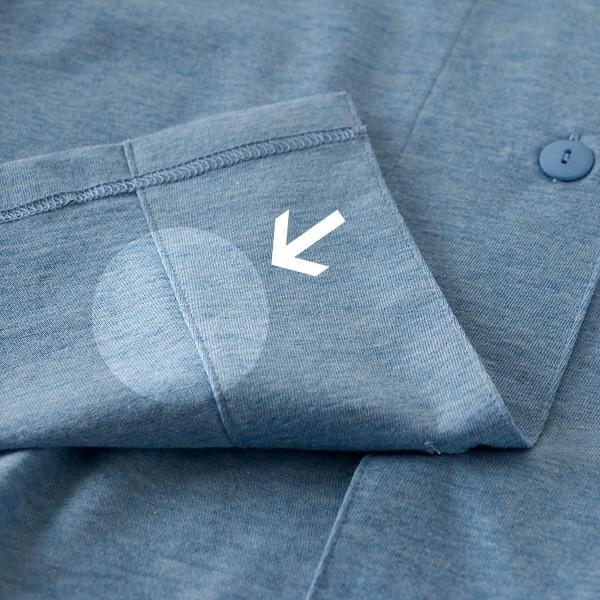 レディース パジャマ 長袖 前開き 衿付き オーガニックコットン100%薄地天竺ニット 0553|pajamakobo-lovely|10