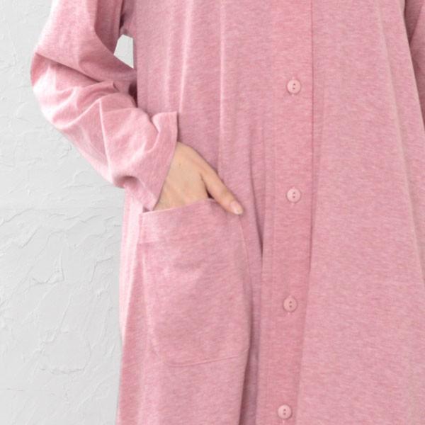 【ホっとするやわらかさ】肌に優しい オーガニックコットン 天竺ニット レディース パジャマ 長袖 前開き ネグリジェ 0751|pajamakobo-lovely|14