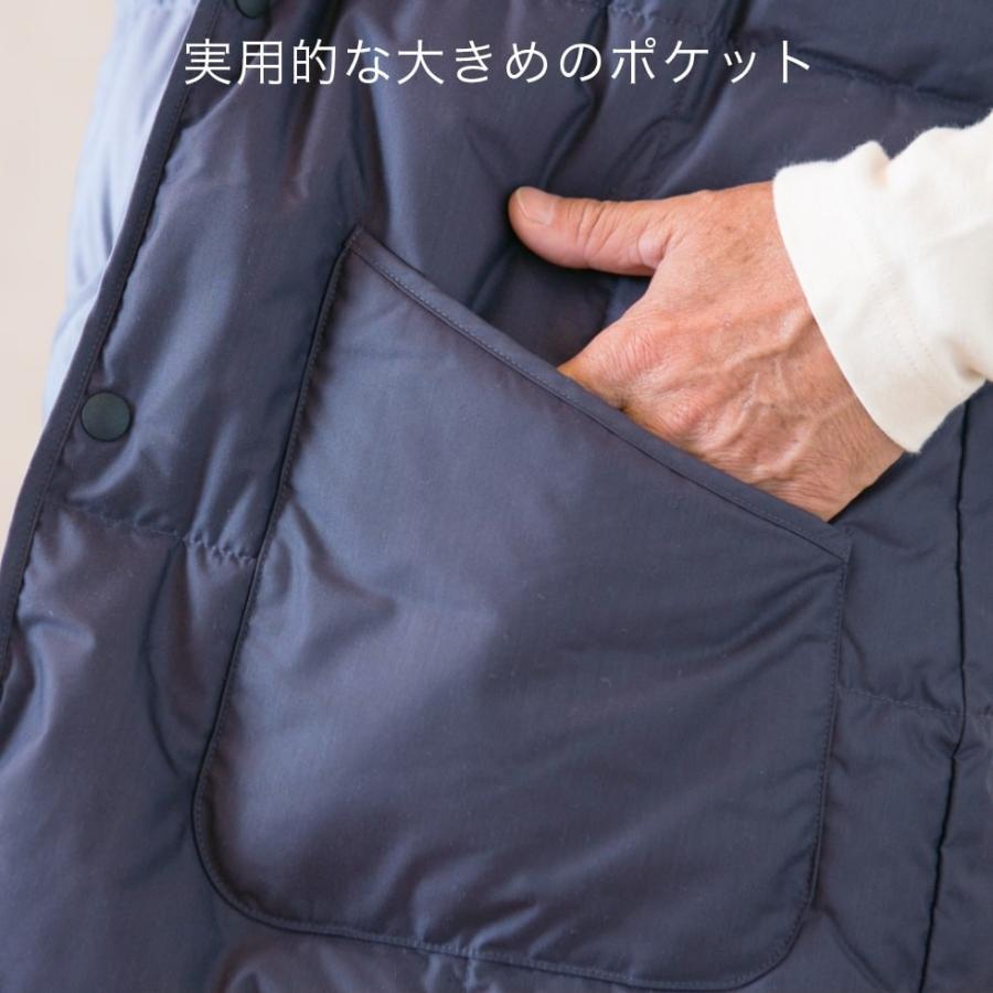 着込まず防寒 上質羽毛 ルームベスト 無地 日本製 一枚で暖かい ダウン ベスト はんてん 古希 喜寿 祝い ちゃんちゃんこ 父 母 誕生日プレゼント pajamaya 07