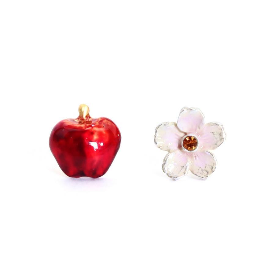 花 リンゴ 赤 ピアス レディース PalnartPoc ブランド パルナートポック直営 プレゼント   花りんごピアス|palnartpocstore