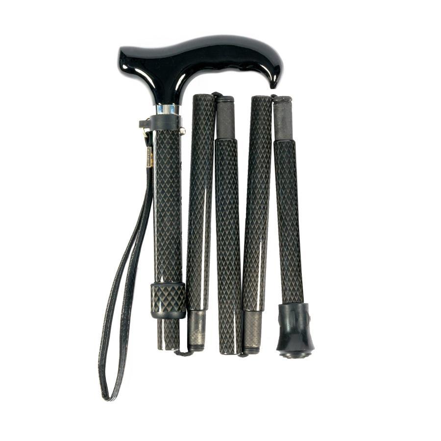 超軽量 オールカーボンコンパクト折りたたみ伸縮杖/ロングブラックPC23<当店オリジナル商品>|panastick