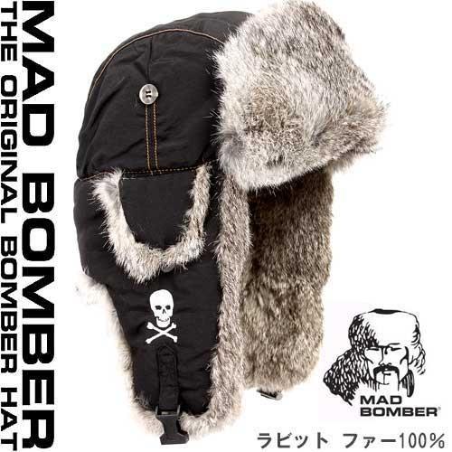 304 SKULL BLK hat キャップ ハット スキー帽子 ロシア パイロットキャップ 毛皮 冬帽子 ラビットファー100% レディース メンズ 耳あて付き帽子