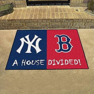 野球 MLB アメリカン ベースボール ウェア ユニフォーム ファンマット New York Yankees vs Boston 赤 Sox House Divided Mat
