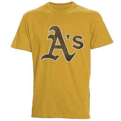 フォーティーセブンブランド アメリカ USA メジャー リーグ 全米 野球 MLB 47 Oakland アスレチックs メンズ ゴールド Alternate ロゴ Scrum Tシャツ