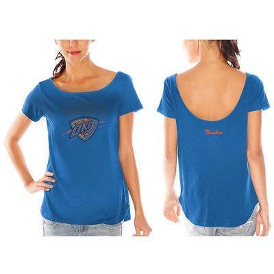 アメリカ USA カレッジ 全米 リーグ バスケットボール NBA Oklahoma City Thunder レディース ライト ブルー Backトラック Rhineストーン Tシャツ