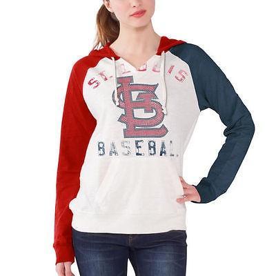 海外バイヤーおすすめ アメリカ USA メジャー リーグ 全米 野球 MLB St. Louis Cardinals レディース ホワイト ダブル Play プルオーバーパーカー Tシャツ