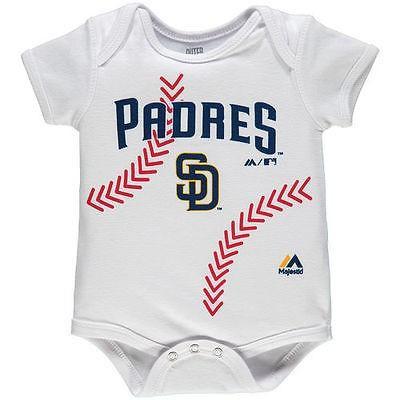 マジェスティック アメリカ USA メジャー リーグ 全米 野球 MLB Majestic San Diego Padres Newborn ホワイト Stitches ベースボール ボディースーツ