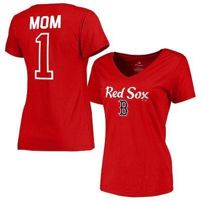 アメリカ USA メジャー リーグ 全米 野球 MLB Boston レッド Sox レディース レッド 2016 Mother's Day #1 Mom スリム-フィット Vネック Tシャツ