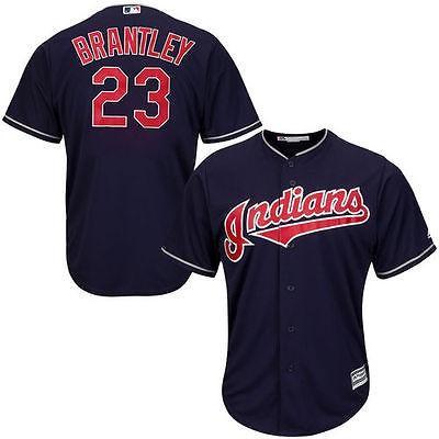 マジェスティック アメリカ USA メジャー リーグ 全米 野球 MLB Michael Brantley Cleveland Indians ユース ネイビー Official Cool Base Player ジャージ