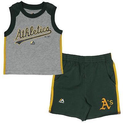アウタースタッフ ベースボール MLB 野球 アメリカ USA 全米 Majestic Oakland アスレチックス Toddler グリーン Muscle タンクトップ ボトムス Set