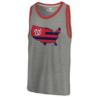 ファナティックス ブランディッド ベースボール MLB 野球 アメリカ USA 全米 Washington Nationals Ash Broad ストライプス Tri-Blend タンクトップ