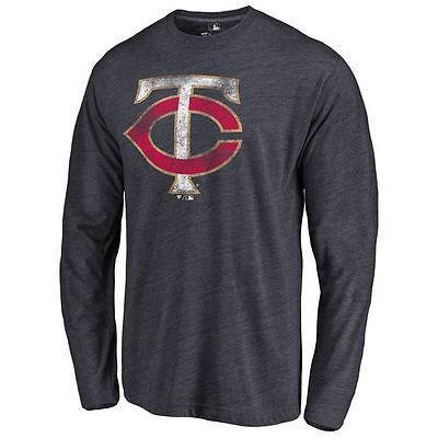ファナティックス ブランディッド ベースボール MLB 野球 アメリカ USA 全米 Minnesota Twins ネイビー Distressed Team 長袖 Tri-Blend Tシャツ