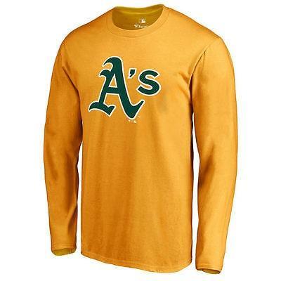 ファナティックス ブランディッド ベースボール MLB 野球 アメリカ USA 全米 Oakland アスレチックス ゴールド Secondary カラー Primary Logo 長袖 Tシャツ