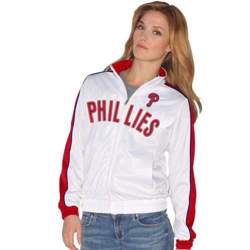 G-III 17Her バイカールバンクス ベースボール MLB 野球 アメリカ メジャー 全米 Philadelphia Phillies レディース Downtown トラック ジャケット - ホワイト