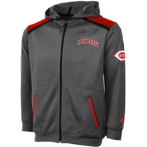 マジェスティック ベースボール MLB 野球 アメリカ メジャー 全米 Cincinnati レッズ メンズ Big Tall チャコール Poly Fleece Contrast Full ジップ パーカー