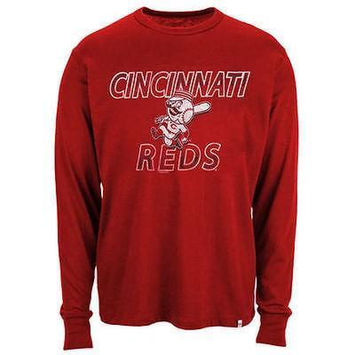 47 ベースボール MLB 野球 アメリカ メジャー 全米 47 ブランド Cincinnati レッズ ビンテージ Flanker 長袖 Tシャツ - レッド