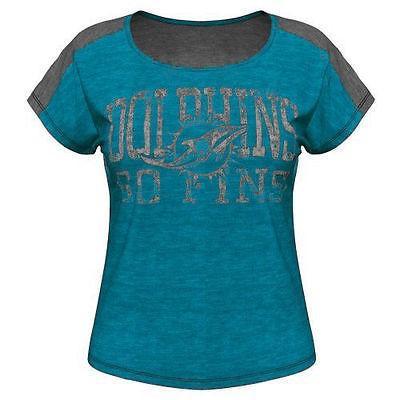 フットボール NFL アメリカ USA 全米 メジャー マジェスティック Majestic Miami Dolphins Women's Aqua Play For Me T Shirt