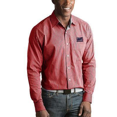 ★大人気商品★ フットボール NFL アメリカ USA 全米 メジャー アンティグア Antigua New York Giants Red Division Woven Long Sleeve Button Up Shirt, 快眠日和 4b8d9006