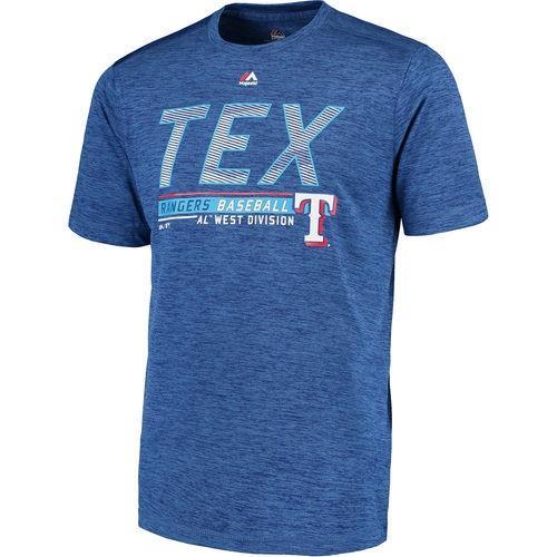 ベースボール MLB 野球 アメリカ USA メジャー マジェスティック Majestic Texas Rangers Heathe赤 Royal Feel the Drama Poly T-Shirt