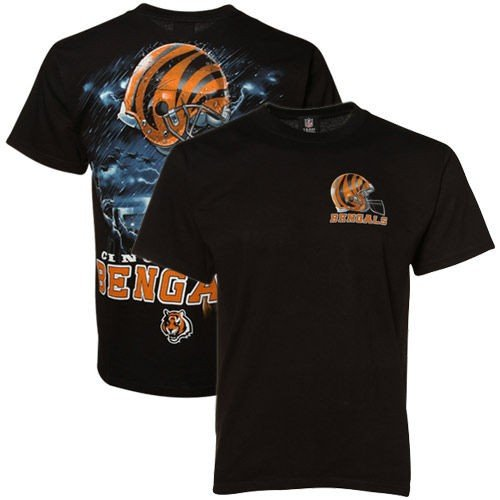 フットボール NFL アメリカ USA 全米 メジャー リキッドブルー Cincinnati Bengals 黒 Helmet to Sky Graphic T shirt