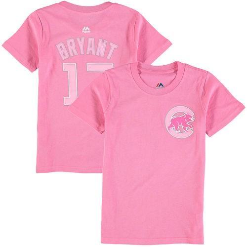 野球 ベースボール メジャーリーグ MLBMajestic Kris Bryant Chicago Cubs Girls Youth ピンク Player Name & Number T-Shirt