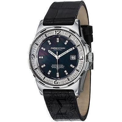 美しい 腕時計 モモデザイン Momo デザイン レディース Pilot レディース ブラック ダイヤモンド ダイヤル ブラック ストラップ 腕時計 MD093-D01BK-LS, TOMOSHOP 6f4a8b11
