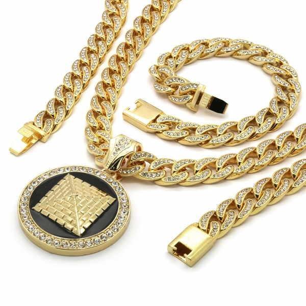 【再入荷!】 ブレスレット アメリカン ジュエリー ヒップホップ Mens Gold Plated Iced Out Hip Hop Round Pyramid Pendant CZ Cuban Chain Bracelet, ワイズオフィス d76a779e