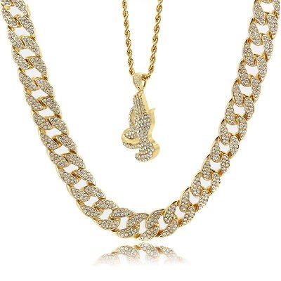 """Mens 14k Gold Plated Iced Out Black Cz Oval Pendant Hip-Hop 30/"""" Cuban Chain"""