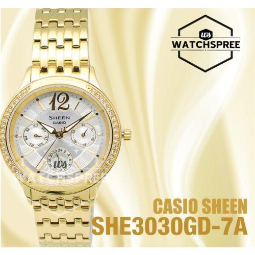 お見舞い 腕時計 カシオ Casio Sheen Swarovski Element Multi-Hand Series SHE3030GD-7A, 鳴瀬町 628ee36a