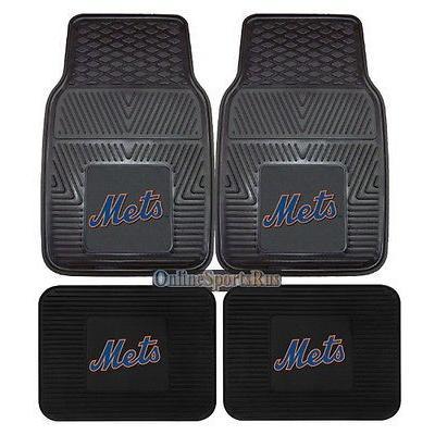 野球 MLB アメリカン ベースボール ウェア ユニフォーム ファンマット New York Mets Car Mats 4 Pc Front and Rear Heavy Duty Vinyl