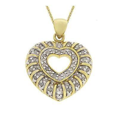 【在庫あり/即出荷可】 海外セレクション ダイヤモンド 18k ゴールド over シルバー 1/2 CTW ダイヤモンド ハート ペンダント 18