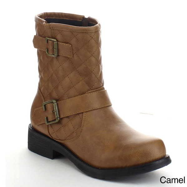 卸し売り購入 ブーツ シューズ 靴 ストラップ 海外厳選ブランド ブーツ New CAMEL レディース Quilted バックル ストラップ Side ジップ Low フラット Chunky アンクルブーツ JAB-01 CAMEL, スギナミク:77a38d98 --- fresh-beauty.com.au