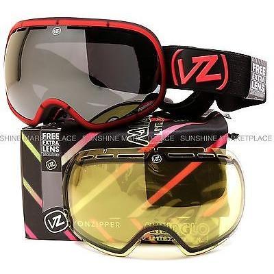 最安値で  ゴーグル サングラス ボンジッパー 2015 Von Zipper Fishbowl Goggles-RCH Mindglo Red-2 Lenses-SAME DAY SHIPPING!, c-watch company fa0b4135