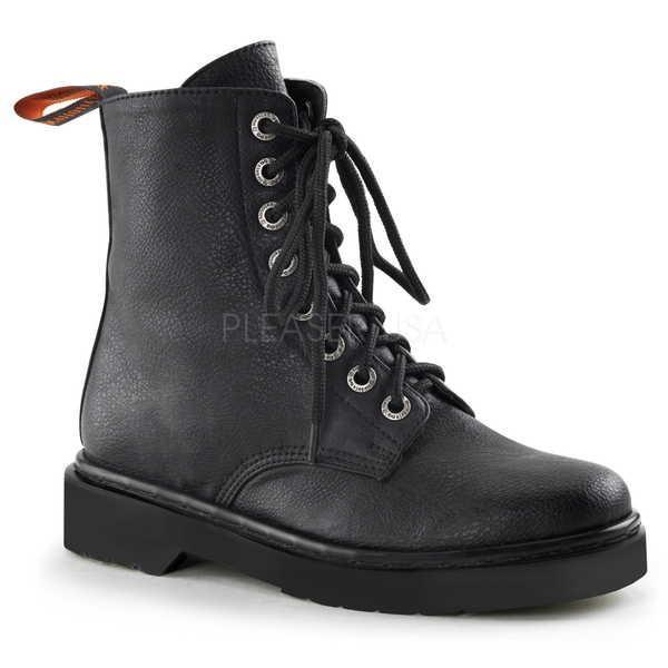 本物品質の ブーツ シューズ 靴 デモニア Demonia レディース Front 8 Eyelet Lace Up Low ヒール Combat ブーツ RIVAL-100 BLACK Vegan Leather, ヒガシクビキグン d3104354