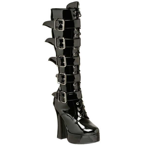 超美品 ブーツ シューズ 靴 プリーザー PLEASER ELECTRA 2042 レディース Chunky ヒール Platform ニーハイ ブーツ Lace バックル Up Blk Pat, berry d81f86f3