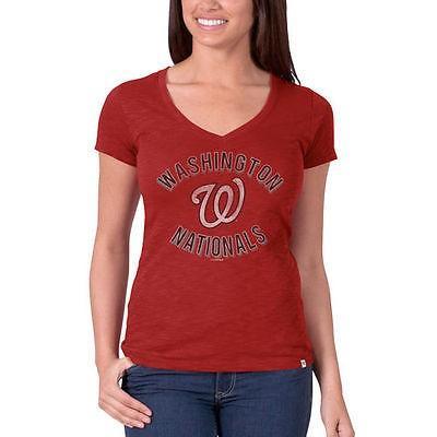 フォーティーセブンブランド アメリカ USA メジャー リーグ 全米 野球 MLB 47 Washington Nationals レディース レッド Vネック Scrum ロゴ Tシャツ