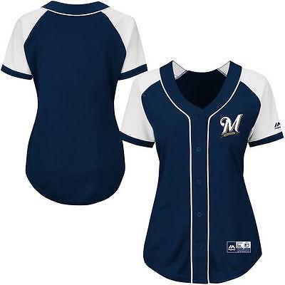 マジェスティック アメリカ USA メジャー リーグ 全米 野球 MLB Majestic Milwaukee Brewers レディース ネイビー ファッション Replica ジャージ