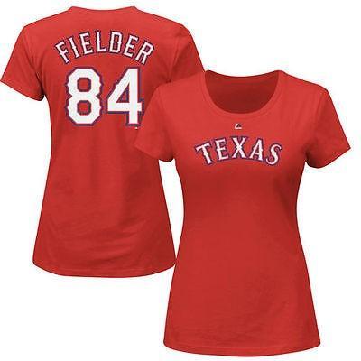 マジェスティック アメリカ USA メジャー リーグ 全米 野球 MLB Majestic Prince Fielder Texas Rangers レディース レッド ネーム ナンバー Tシャツ