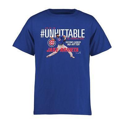 海外バイヤーおすすめ アメリカ USA メジャー リーグ 全米 野球 MLB Jake Arrieta Chicago Cubs ユース ロイヤル #Unhitテーブル Tシャツ