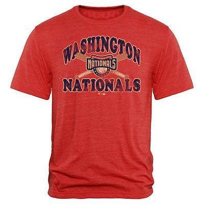 海外バイヤーおすすめ アメリカ USA メジャー リーグ 全米 野球 MLB Washington Nationals レッド Cooperstown Bats トライブレンド Tシャツ