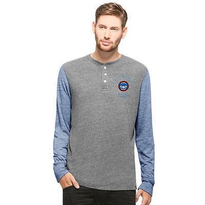 47 ベースボール MLB 野球 アメリカ USA 全米 47 Chicago Cubs グレー/Royal Midfield Henley 長袖 Tシャツ