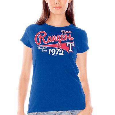 G-III 4Her バイカールバンクス ベースボール MLB 野球 アメリカ USA 全米 Texas Rangers レディース Royal ブルー Cap スリーブ ファッション Tシャツ