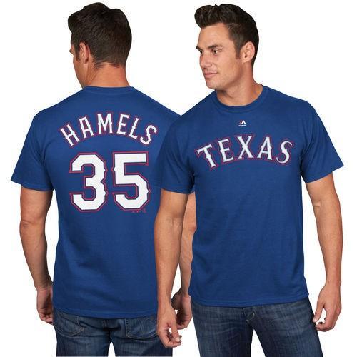 マジェスティック ベースボール MLB 野球 アメリカ USA 全米 Majestic Cole Hamels Texas Rangers Royal Official Name and Number Tシャツ