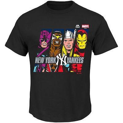マジェスティック ベースボール MLB 野球 アメリカ USA 全米 Majestic New York Yankees ブラック Marvel Marks of Hero Tシャツ