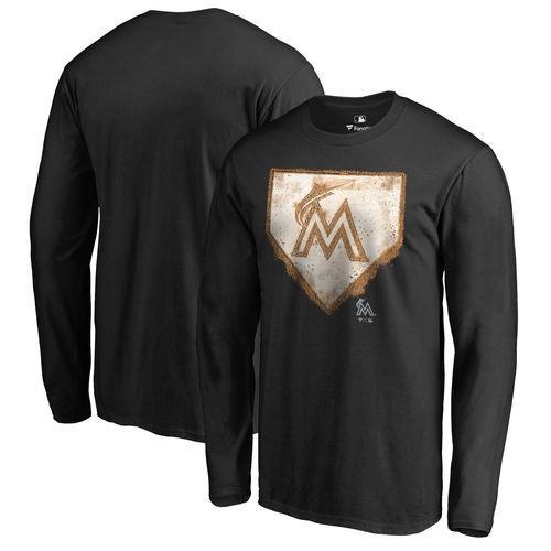 ファナティックスブランディッド ベースボール MLB 野球 アメリカ メジャー 全米 Miami Marlins ブラック Home プレート コレクション 長袖 Tシャツ